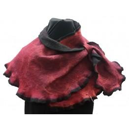 Handtovad sjal, röd