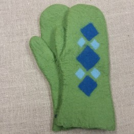 Handtovade vantar, gröna med rutmönster, stl 10